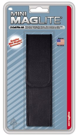 GENUINE, MINI MAGLITE FULL FLAP BLACK NYLON BELT HOLSTER AM2A056 FITS 2 CELL AA MAGLIGHT FLASHLIGHTS