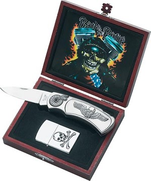 "COLLECTIBLE, ""BAD DUDE"" LOCKBACK KNIFE, with LIGHTER"