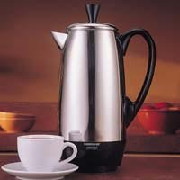 FARBERWARE, FCP412, PERCOLATOR COFFEE MAKER.  ADJUSTABLE FROM 4 TO 12 CUP CAPACITY