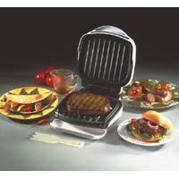 GEORGE FOREMAN GRILLS, GR10AWHT, THE CHAMP WHITE, TRANSPARENT BUN WARMER, ELECTRIC BBQ GRILL
