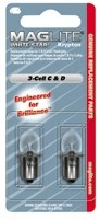 PACKAGE OF 2, MAGLITE REPLACEMENT BULBS, FOR MAGLITE FLASHLIGHTS THAT USE 2 D CELLS, OR 2 C CELLS